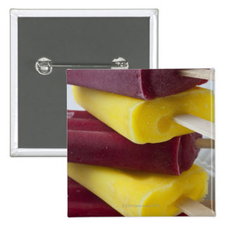 Stack of frozen ice pops, ice cream on a stick 15 cm square badge