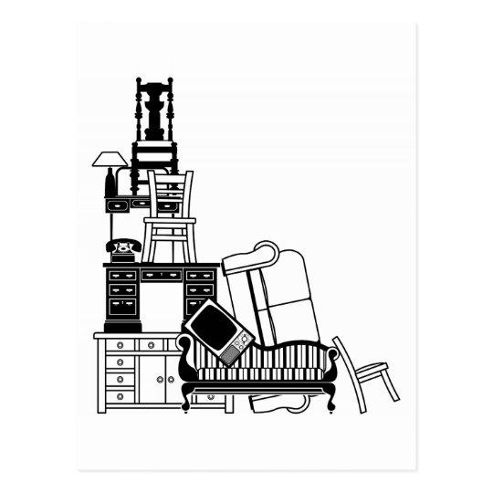 Stack of furniture postcard