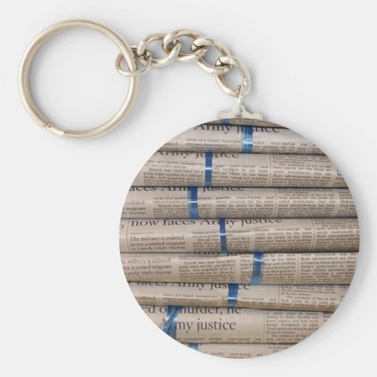 Stack of Newspapers Current Events Art Basic Round Button Key Ring