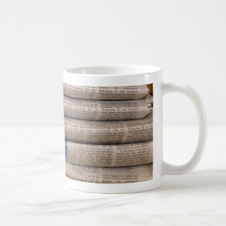 Stack of Newspapers Current Events Art Basic White Mug
