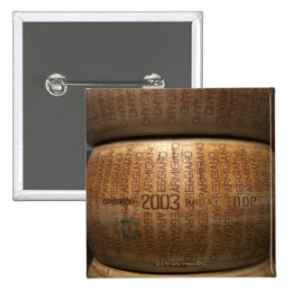 Stack of parmesan cheeses, close-up 15 cm square badge