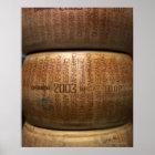 Stack of parmesan cheeses, close-up poster