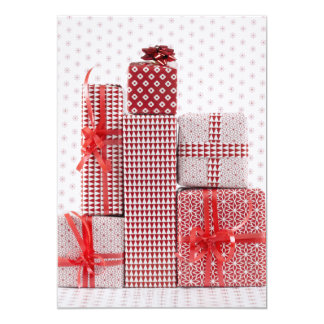 Stack of red patterned wrapped presents 13 cm x 18 cm invitation card