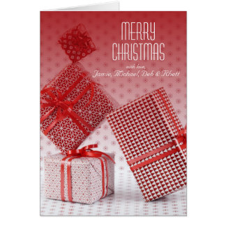 Stack of red wrapped presents card