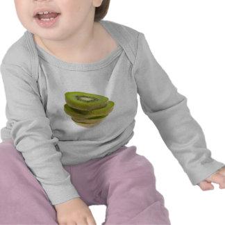 Stack of sliced kiwi fruit t-shirts