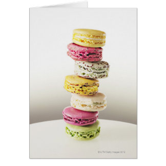 Stack of vibrant macaroons greeting card