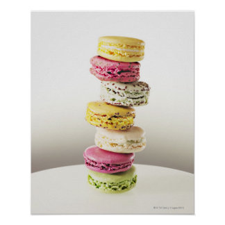 Stack of vibrant macaroons poster