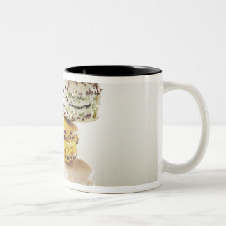 Stack of vibrant macaroons Two-Tone coffee mug