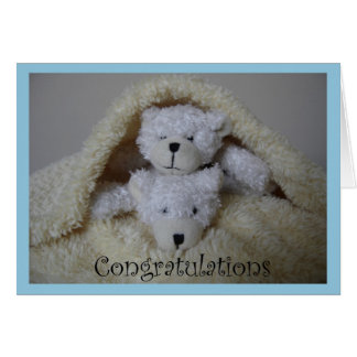 stacked boy twin bears congratulations greeting card