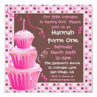 Stacked Cupcakes 1st Birthday Party with polkadots 13 Cm X 13 Cm Square Invitation Card