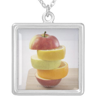 Stacked Fruit Slices Silver Plated Necklace