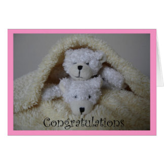 stacked girl twin bears congratulations card