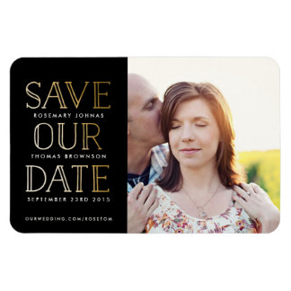 Stacked Gold on Black Photo Save the Date Magnet