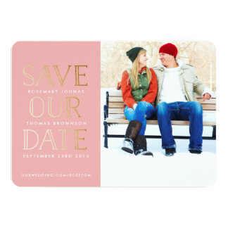 Stacked Gold Photo Save the Date Card