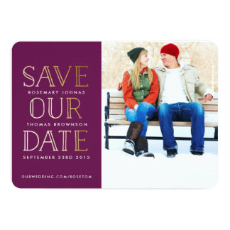 Stacked Gold Photo Save the Date 13 Cm X 18 Cm Invitation Card