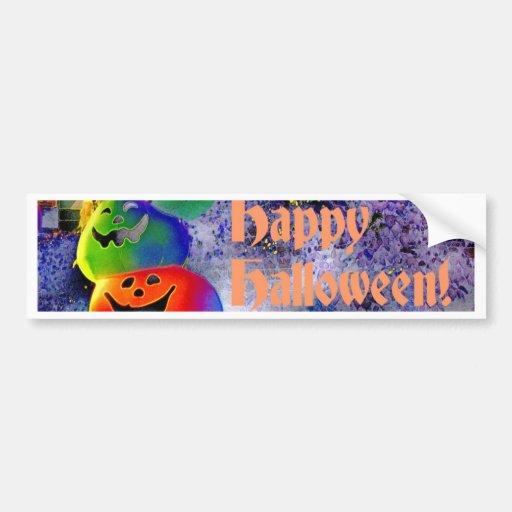 Stacked Halloween Pumpkins in Gimp Art Bumper Stickers