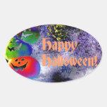 Stacked Halloween Pumpkins in Gimp Art Oval Stickers