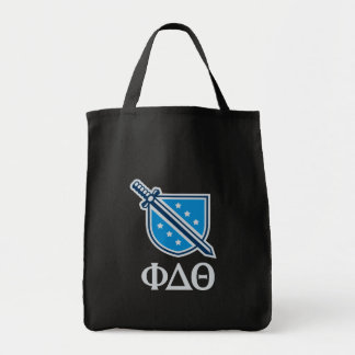 Stacked Logo and Letters - Grey Grocery Tote Bag