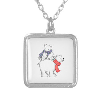 STACKED POLAR BEARS SILVER PLATED NECKLACE