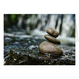 Stacked Rocks with Waterfall Greeting Card