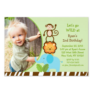 Stacked Safari Jungle Animal Birthday Invitations