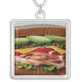 Stacked sandwich silver plated necklace