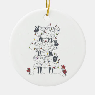Stacked Sheep at Christmas Christmas Ornament