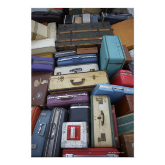 Stacked suitcases poster
