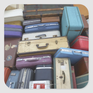 Stacked suitcases square sticker