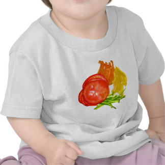 Stacked tomato with sliced peppers tees
