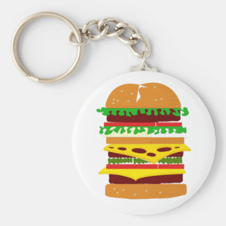 Stacked Triple Burger Keychain