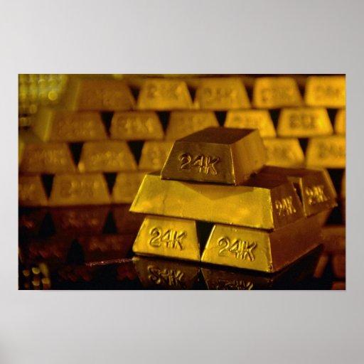 Stacks of gold bars print