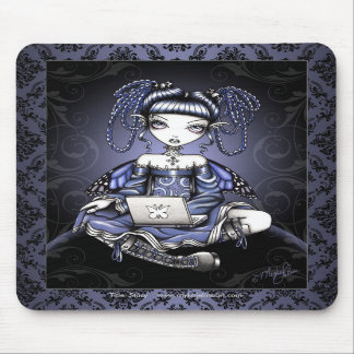 """Stacy"" Cute Blue Lap Top Fairy Art Mousepad"