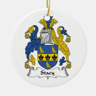 Stacy Family Crest Round Ceramic Decoration
