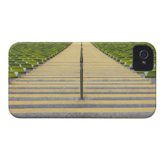 Stadium stairway between rows of green seats iPhone 4 case