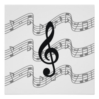 Staff and Treble Clef Poster