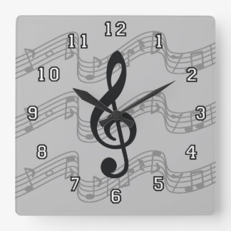 Staff and Treble Clef Square Wall Clock