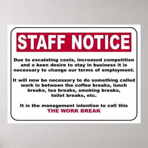 Staff Notice Poster