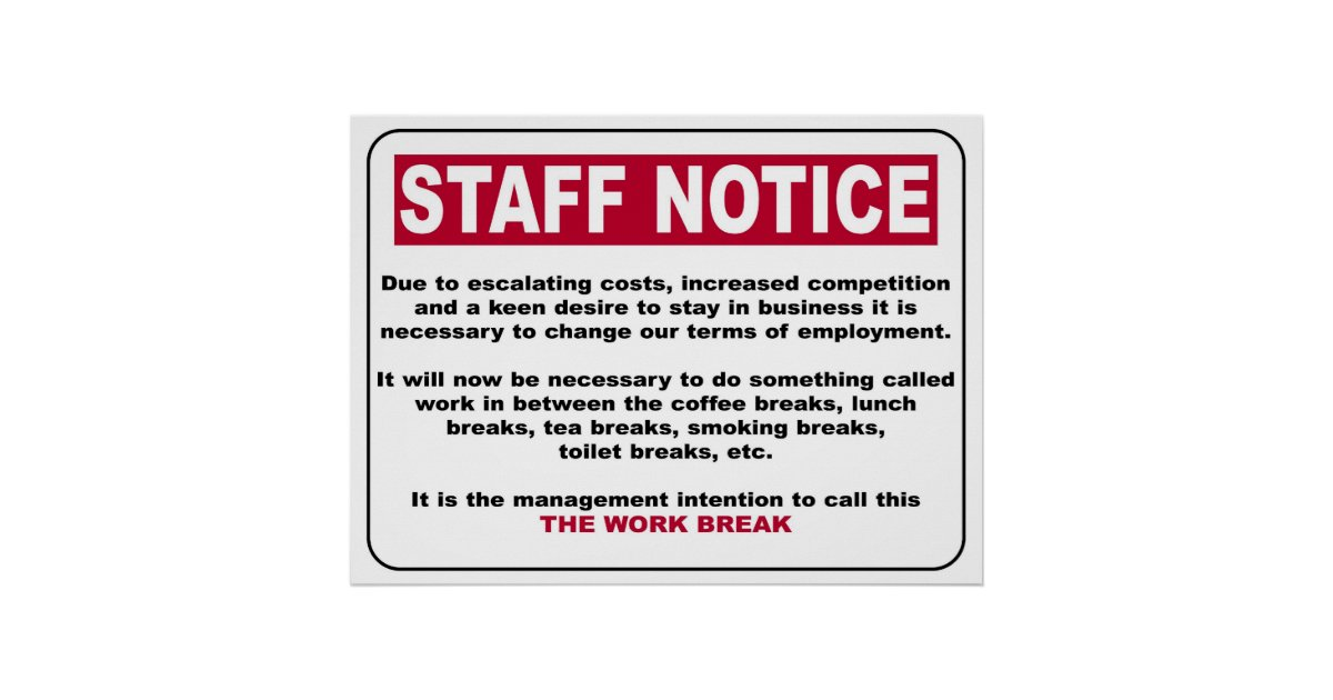 Staff Notice Poster Zazzle Co Uk