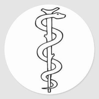 Staff of Asclepius Round Sticker