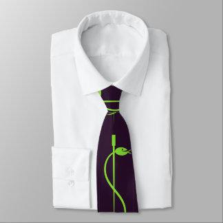 Staff of Asclepius Tie: Green Serpent Lives -black Tie