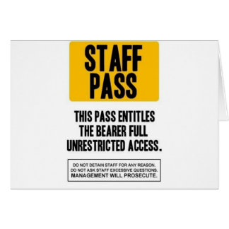 Staff Pass Greeting Card