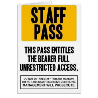 Staff Pass Greeting Card