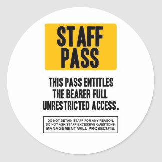 Staff Pass Round Stickers