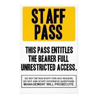 Staff Pass Stationery Paper