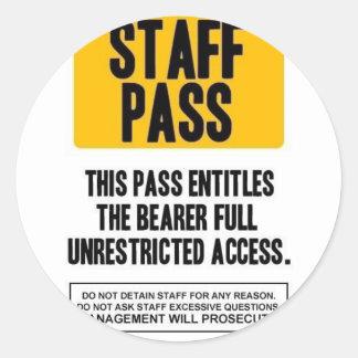 Staff Pass Round Sticker