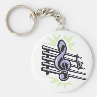 staff treble cleft music note design basic round button key ring