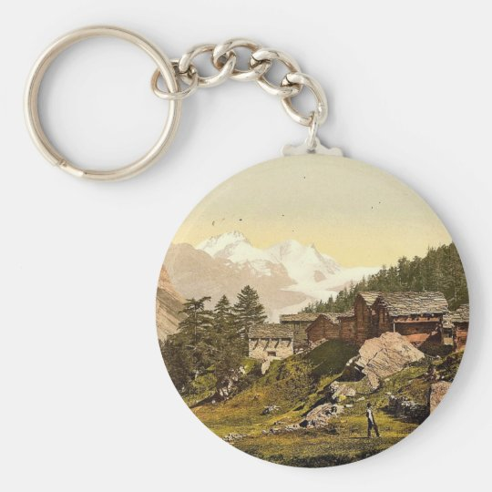 Staffel Alp and Rimpfischhorn, with chalets, Valai Basic Round Button Key Ring