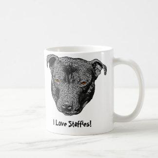 Staffie Head, 'I Love Staffies!' Mug
