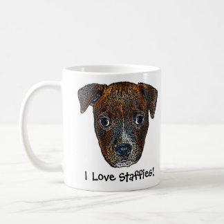 Staffie Pup 'I Love Staffies!' Mug